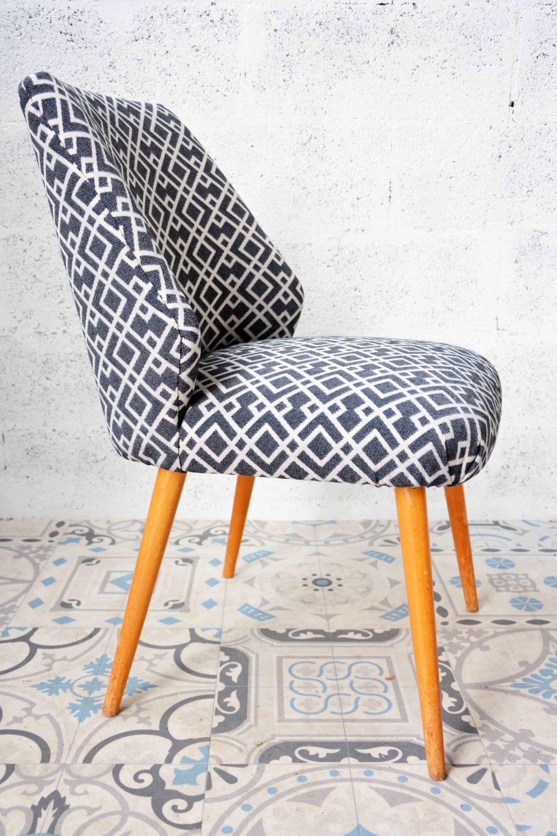 Chaise vintage pieds compas - Chaise tissu et bois ...