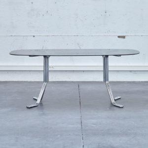 table salle a manger table verre seventies verre fumé pieds chromés pieds compas vintage design knoll