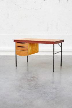 bureau vintage bois et metal mobilier scolaire ecole ancienne bureauposte meuble de metier bois retro mobilier vintage furniture pieds compas french design