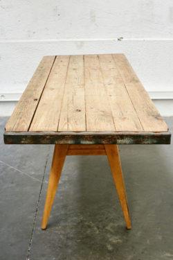 table retro stella vintage deco ameublement boutique mobilier vintage pieds compas rustique table de ferme concept store lyon tendances