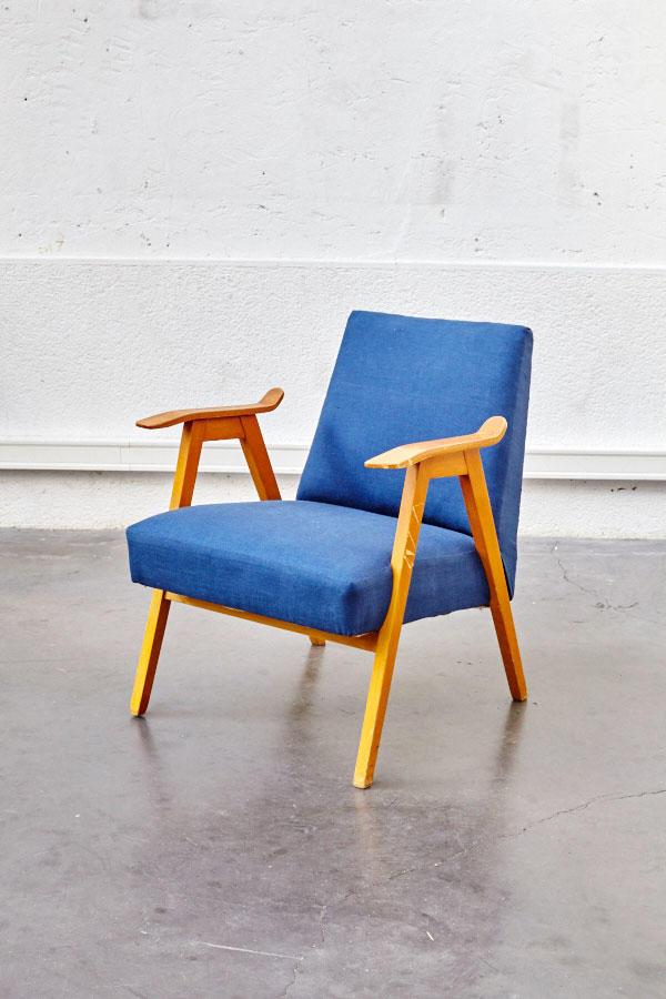 fauteuil vintage bleu jean pieds compas. Black Bedroom Furniture Sets. Home Design Ideas
