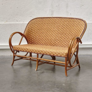 Banquette osier vintage meuble scandinave rotin