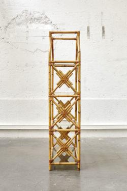 étagère en bambou support en verre vintage mobilier scandinave