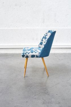 Chaise rembourrée velours vintage pieds compas mobilier scandinave