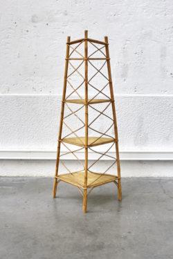 Etagère rotin d'angle mobilier vintage pieds compas décoration scandinave