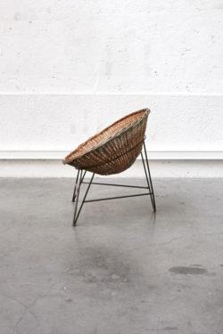 fauteuil rotin vintage pieds compas mobilier scandinave décoration rattan furniture