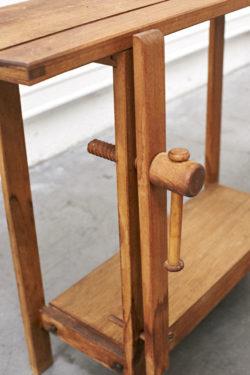 Etabli en bois brut mobilier vintage pieds compas décoration scandinave