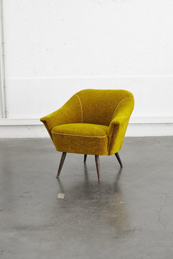 Fauteuil vintage jaune | Pieds Compas