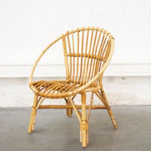 Chaise enfant rotin vintage pieds compas mobilier scandinave design midcentury