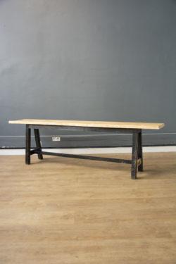 banc école bois noir vintage boutique pieds compas