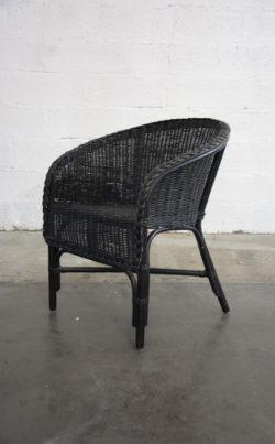 fauteuil en rotin noir vintage boutique pieds compas