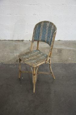 chaise rotin bleu vintage boutique pieds compas