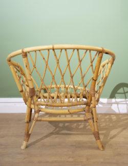 fauteuil rotin vintage mobilier pieds compas vintage