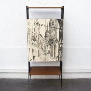 bibliothèque italienne mobilier vintage pieds compas enfilade scandinave table bistrot chaise d'école Lyon déco brocante
