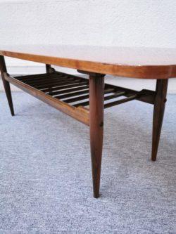 table basse scandinave design double plateau teck bois orme pieds compas brocante vintage retro lyon magasin ameublement deco decoration tendance maison meuble mobilier vintage