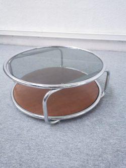 table basse ronde plateau verre plateau bois enfilade buffet modulable italien vintage pieds compas teck mobilier lyon retro scandinave