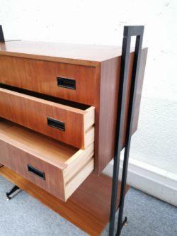 enfilade buffet modulable italien vintage pieds compas teck mobilier lyon retro scandinave