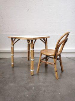 enfilade marcel gascoin, vintage, mobilier vintage, rotin, fauteuil en rotin, table de ferme, canapé vintage, table basse en rotin, table de brasserie parisienne