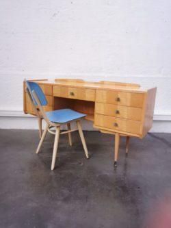 coiffeuse bureau vintage retro annees 50 lyon design bois laque pieds compas boutique laiton scandinave