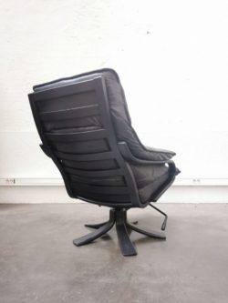 fauteuil scandinave cuir noir design brocante danemark suedois confortable vintage retro leather ajustable canape chaise retro vintage lyon boutique ameublement decoration