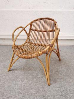 fauteuil en rotin vintage