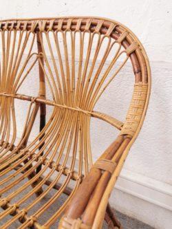 canapé en rotin, rotin, fauteuil vintage, table de ferme, enfilade, buffet de campagne