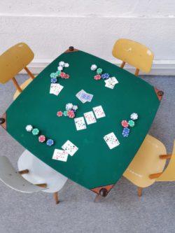 table teck table de jeu table a manger salon decoration vintage brocante boutique lyon ameublement mobilier retro gio ponti italien italie design home deco tendances scandinave pieds compas shop lyon
